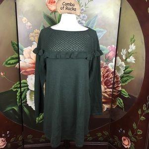NEW Style & Co Dark Ivy Ruffle Tunic Top Sweater